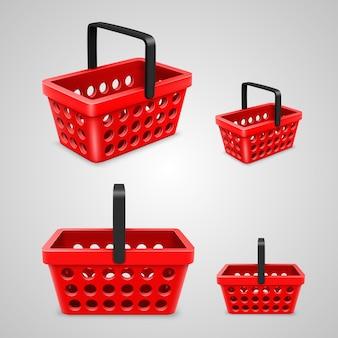Vektor-einkaufstasche mit runden löchern rot. vektor-illustration
