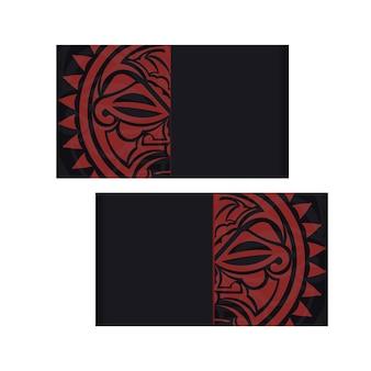 Vektor-einladungskarte mit einem platz für ihren text und einem gesicht in einem ornament im polizenischen stil. schwarzes postkartendesign mit maske der götter.