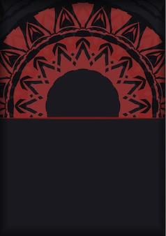 Vektor-einladungskarte mit platz für ihren text und abstrakte verzierung. luxuriöses design einer postkarte in schwarz mit roten griechischen mustern.