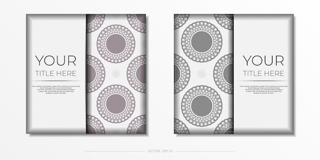 Vektor-einladungskarte mit platz für ihren text und vintage-ornament. luxuriöses design einer postkarte in weiß mit dunklen griechischen mustern.