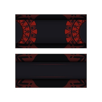 Vektor-einladungskartenschablone mit platz für ihren text und abstrakte verzierung. luxuriöses design einer postkarte in schwarzer farbe mit einem roten griechischen ornament.