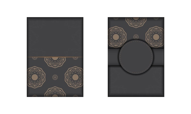 Vektor-einladungskartenvorlage mit platz für ihren text und vintage-ornamente. ausgegrautes postkartendesign