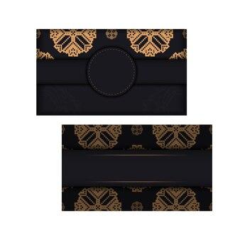 Vektor-einladungskartenvorlage mit platz für ihren text und vintage-ornamente. design einer postkarte in schwarz mit slawischem ornament.