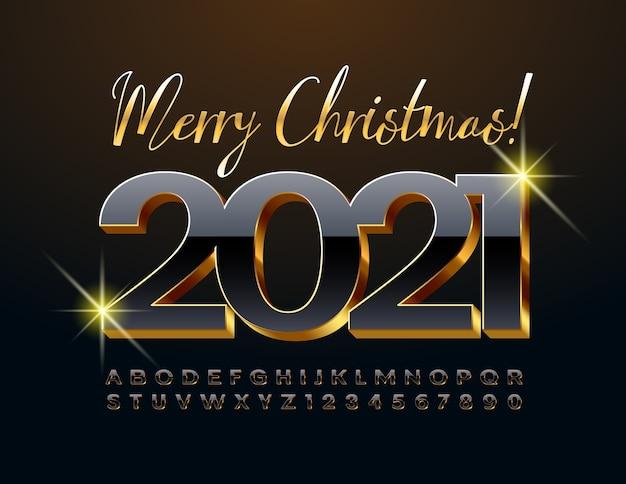 Vektor elegante grußkarte frohe weihnachten 2021! schwarz-gold-premim-schriftart. 3d luxus alphabet buchstaben und zahlen eingestellt