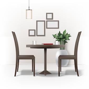 Vektor esszimmer interieur mit runden braunen holztisch, zwei stühlen, rotes buch, tassen kaffee oder tee, lampe, pflanze im topf und fotorahmen an der wand lokalisiert auf weißem hintergrund