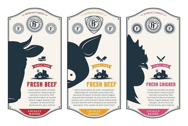 Vektor-etiketten für schweinefleisch und hühnchen im modernen stil