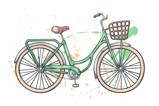 Vektor fahrrad im vintage-stil. aquarell textur