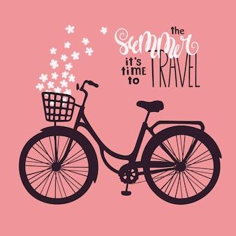 Vektor fahrrad im vintage-stil. schriftzug: im sommer ist es zeit zu reisen.
