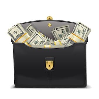 Vektor-fall mit geld isoliert auf weißem hintergrund
