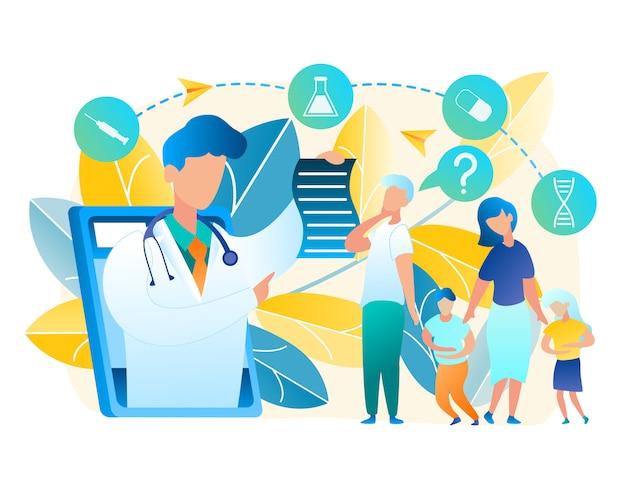 Vektor-familie drehte sich um hilfe doktor kinderarzt. männer und frauen konsultieren online mit dem arzt. junge und mädchen, die zum wunden bauch halten. online-medizin unter verwendung der tablette-kommunikation mit mann-doktor