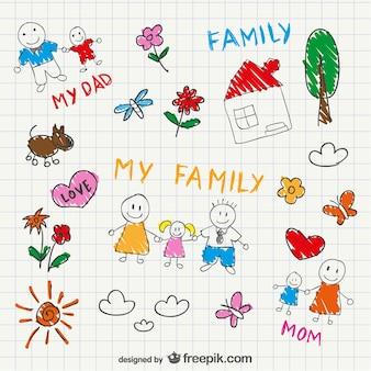 Vektor-familie skizze, zeichnung