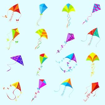 Vektor farbdrachensatz. spielzeug isoliert, objekt und spiel, sammlungsgruppe unterschiedlich