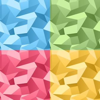 Vektor farbiger nahtloser 3d zerknitterter abstrakter kristallhintergrund