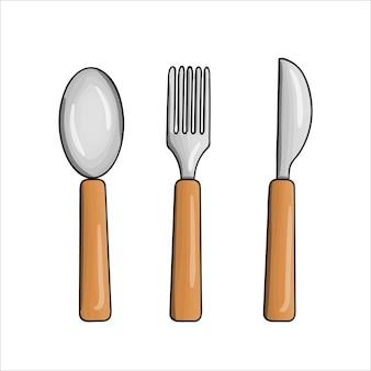 Vektor farbiges geschirr-set. küchenwerkzeugikonen lokalisiert auf weißem hintergrund. kochausrüstung im cartoon-stil. löffel, messer, gabelvektorillustration