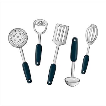 Vektor farbiges geschirr-set. küchenwerkzeugikonen lokalisiert auf weißem hintergrund. kochausrüstung im cartoon-stil. skimmer, kartoffelmusher, schöpfkelle vektor-illustration
