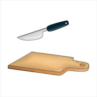 Vektor farbiges schneidebrett und messer. küchenwerkzeugsymbol isoliert auf weißem hintergrund. kochausrüstung im cartoon-stil. geschirr-vektor-illustration