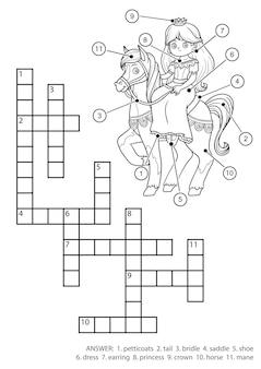 Vektor farbloses kreuzworträtsel, bildungsspiel für kinder. prinzessin und pferd