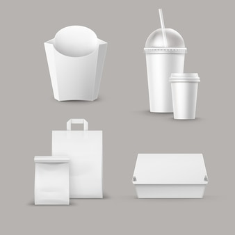Vektor fast-food-paket set von realistischen karton hamburger classic burger container kartoffeln pommes frites in white box blank pappbecher für getränke mit strohpapier take away griff lunch bag.