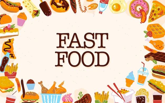 Vektor-fast-food-rahmenillustration mit junk-food-menüelementen