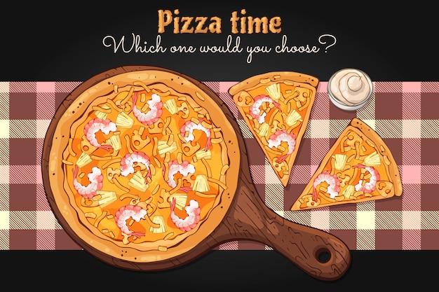 Vektor. fast food-thema: pizza auf einem brett.