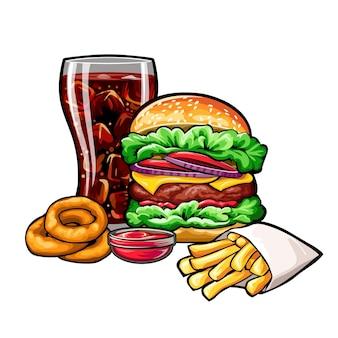 Vektor-fast-food-zusammensetzung auf weißem hintergrund