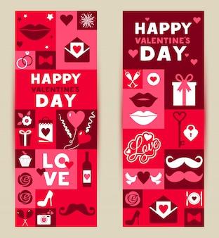 Vektor festgelegt banner valentinstag