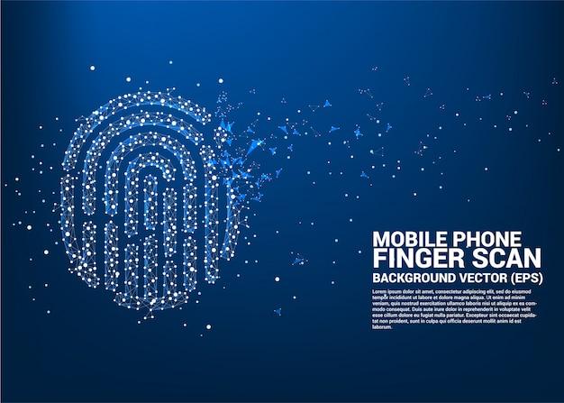 Vektor-fingerabdruck-symbol aus punkt verbinden linie polygon