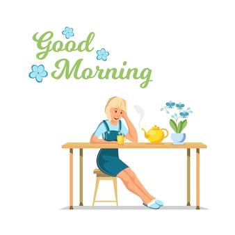 Vektor-flache fahne-guten morgen-junges mädchen-sitzen