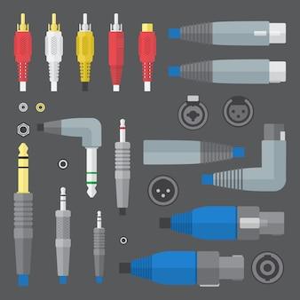 Vektor flache farben verschiedene audio-anschlüsse und eingänge eingestellt