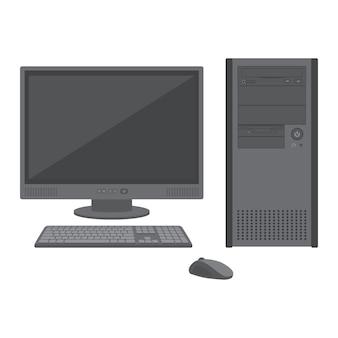 Vektor flache feste farben grau desktop-pc-symbol