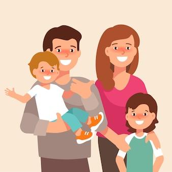 Vektor flache illustration der glücklichen familie Premium Vektoren