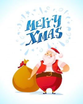 Vektor flache illustration des weihnachtsmanns mit tasche voll von weihnachtsgeschenken.