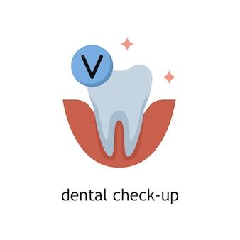 Vektor-flache illustration einer zahnärztlichen untersuchung