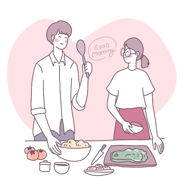 Vektor flache illustration mit einem mädchen, das in der küche kocht