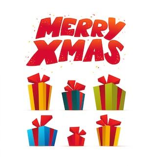 Vektor flache illustration von weihnachtsgeschenkboxen.