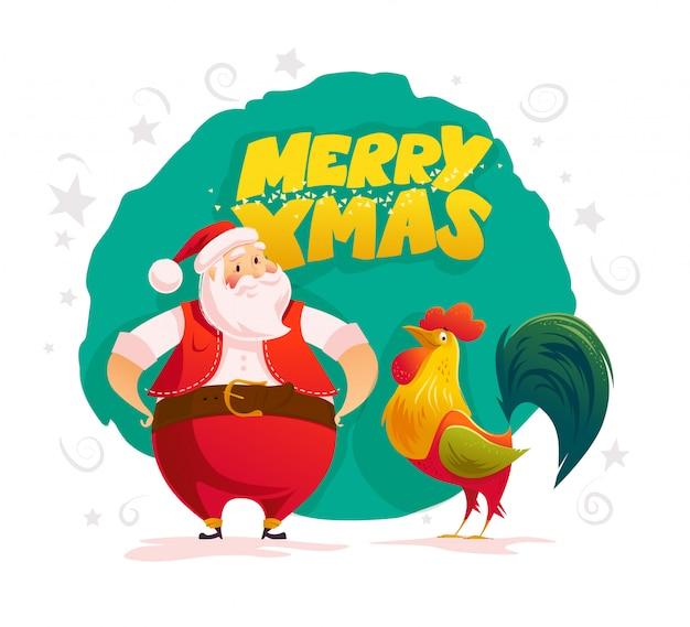 Vektor flache illustration von weihnachtsmann und frohe weihnachten glückwunsch.