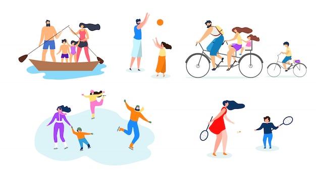 Vektor-flache illustrations-familien-aktiver lebensstil.