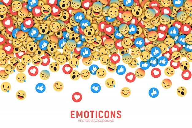 Vektor-flache moderne facebook emoticons-begriffsabstrakte kunst-illustration
