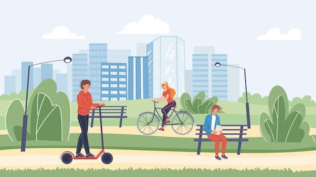 Vektor-flache zeichentrickfiguren verbringen zeit im park-typ, der roller reitet, junger mann, der auf der bank liest, glückliches süßes mädchen, das fahrrad fährt. web-online-banner-design, moderne stadtlebensszene, soziales story-konzept