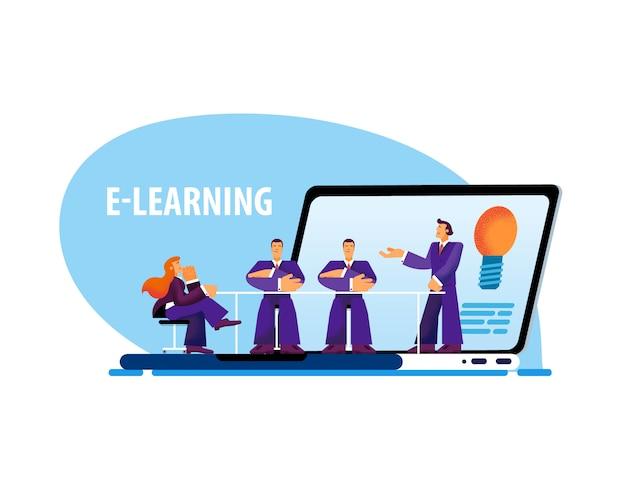 Vektor-flacher fahnen-e-learning-laptop-kleiner mann.