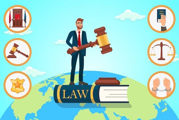 Vektor-flacher illustrations-rechtsanwalt stützt sich auf gesetz.