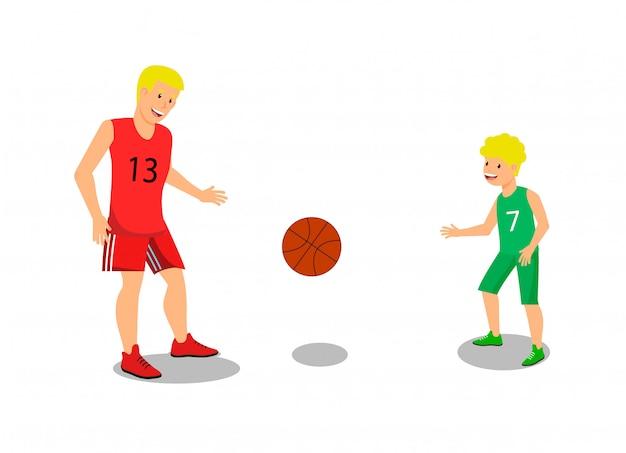 Vektor-flacher vater, der mit kerl-basketball spielt.