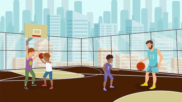 Vektor-flacher wochenenden-feiertag, der auf basketball spielt.