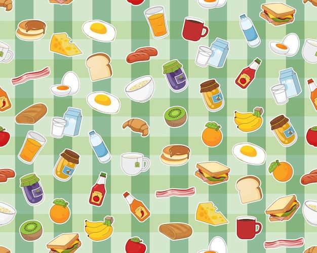 Vektor-flaches nahtloses beschaffenheitsmuster frühstück.