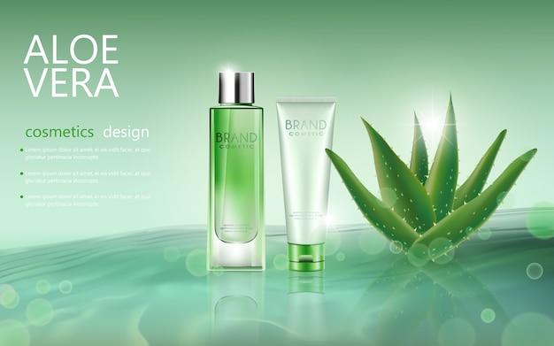 Vektor flasche aloe vera kosmetische mock-up auf weichen hintergrund