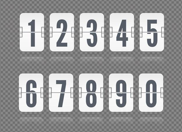 Vektor-flip-anzeigetafel mit zahlen und reflexionen, die für weißen countdown-timer oder webseiten-uhr oder kalender auf dunklem transparentem hintergrund schweben