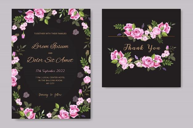 Vektor floral hochzeit einladung kartenvorlage