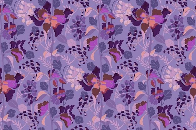 Vektor floral nahtlose muster blumenkräuter und beeren auf lila hintergrund