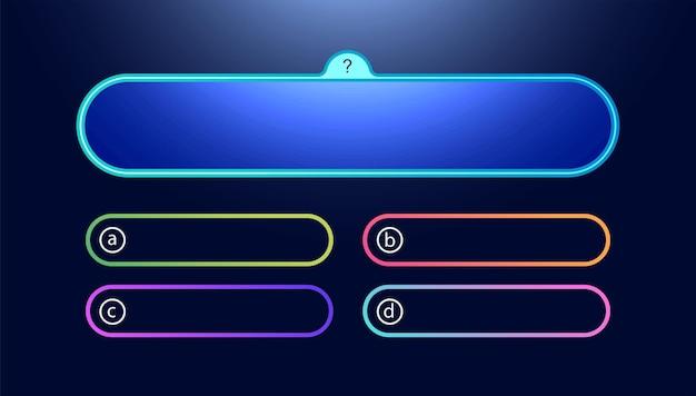 Vektor-frage- und antwortvorlage im neon-stil für quizspielprüfung tv-show schulprüfungstest