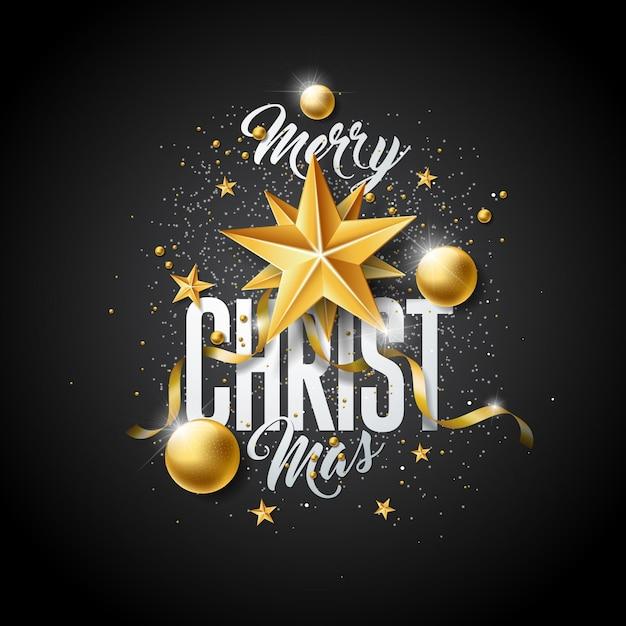 Vektor-frohe weihnacht-illustration mit goldglaskugel